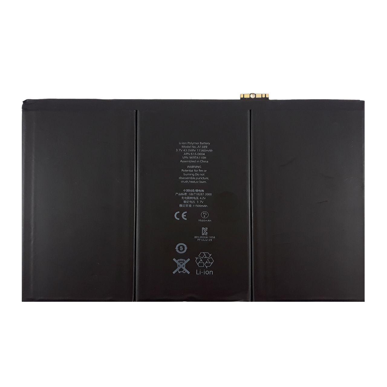 باتری تبلت مدل A1389 با ظرفیت 11560 میلی آمپرساعت مناسب برای تبلت اپل iPad 3