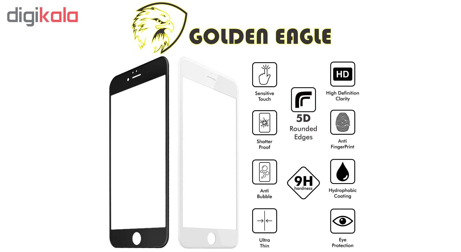 محافظ صفحه نمایش گلدن ایگل مدل 5D Expert Shield مناسب برای گوشی اپل آیفون  6/6S main 1 3