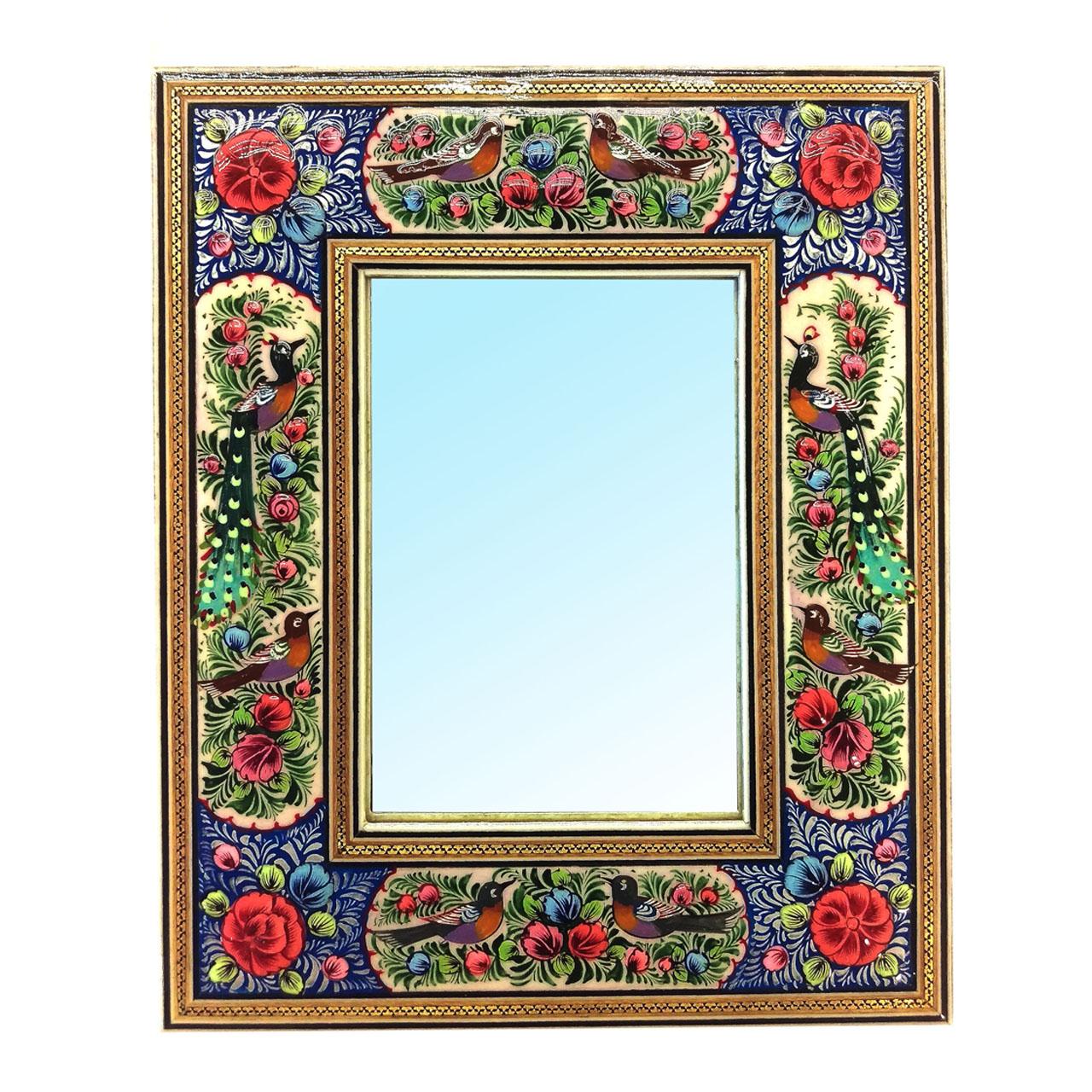 قاب آیینه خاتم لوح هنر طرح گل و پرنده برجسته کد 1073