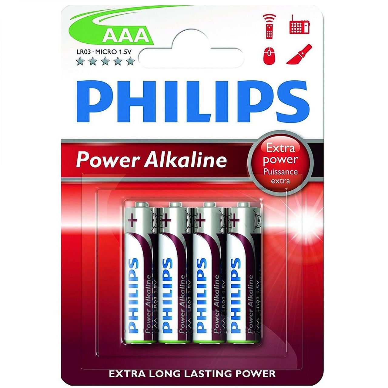 باتری نیم قلمی فیلیپس مدل Power Alkaline LR03-MICRO بسته 4 عددی