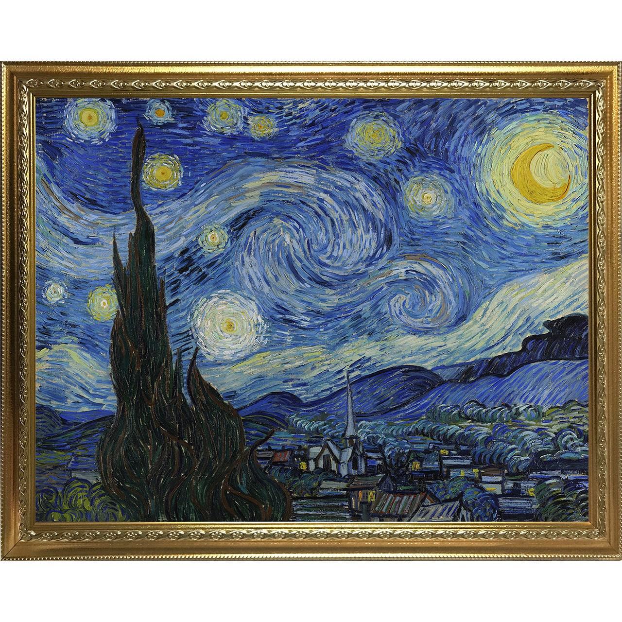 تابلو  گالری هنری پیکاسو طرح شب پر ستاره قاب طلایی