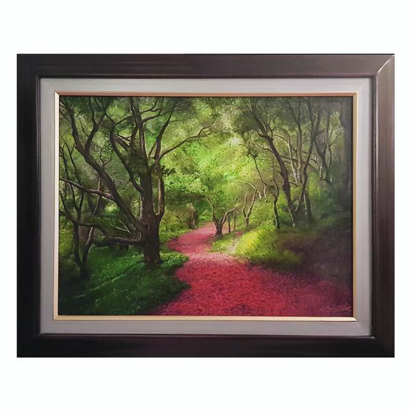 تابلو نقاشی رنگ روغن طرح جنگل سبز