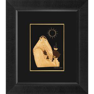تابلوی طلاکوب زرسام طرح خاتون و سماور سایز 35 × 40 سانتی متر