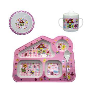 ست 4 تکه ظرف غذای کودک مدل خانه صورتی