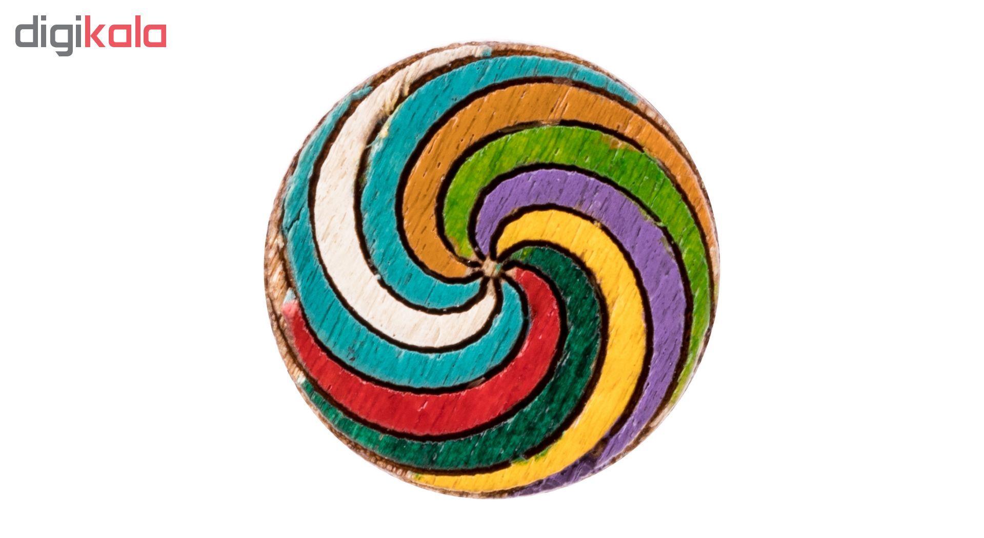 گوشواره چوبی میخی طرح رنگارنگ 2 main 1 2