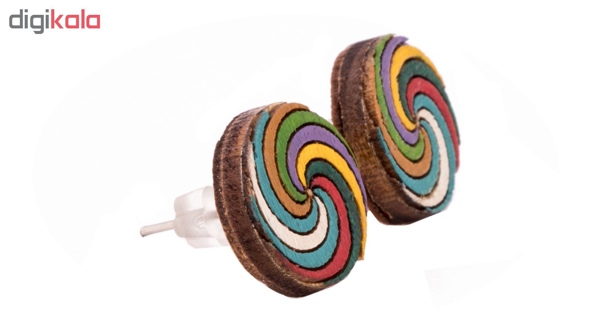 گوشواره چوبی میخی طرح رنگارنگ 2 main 1 3