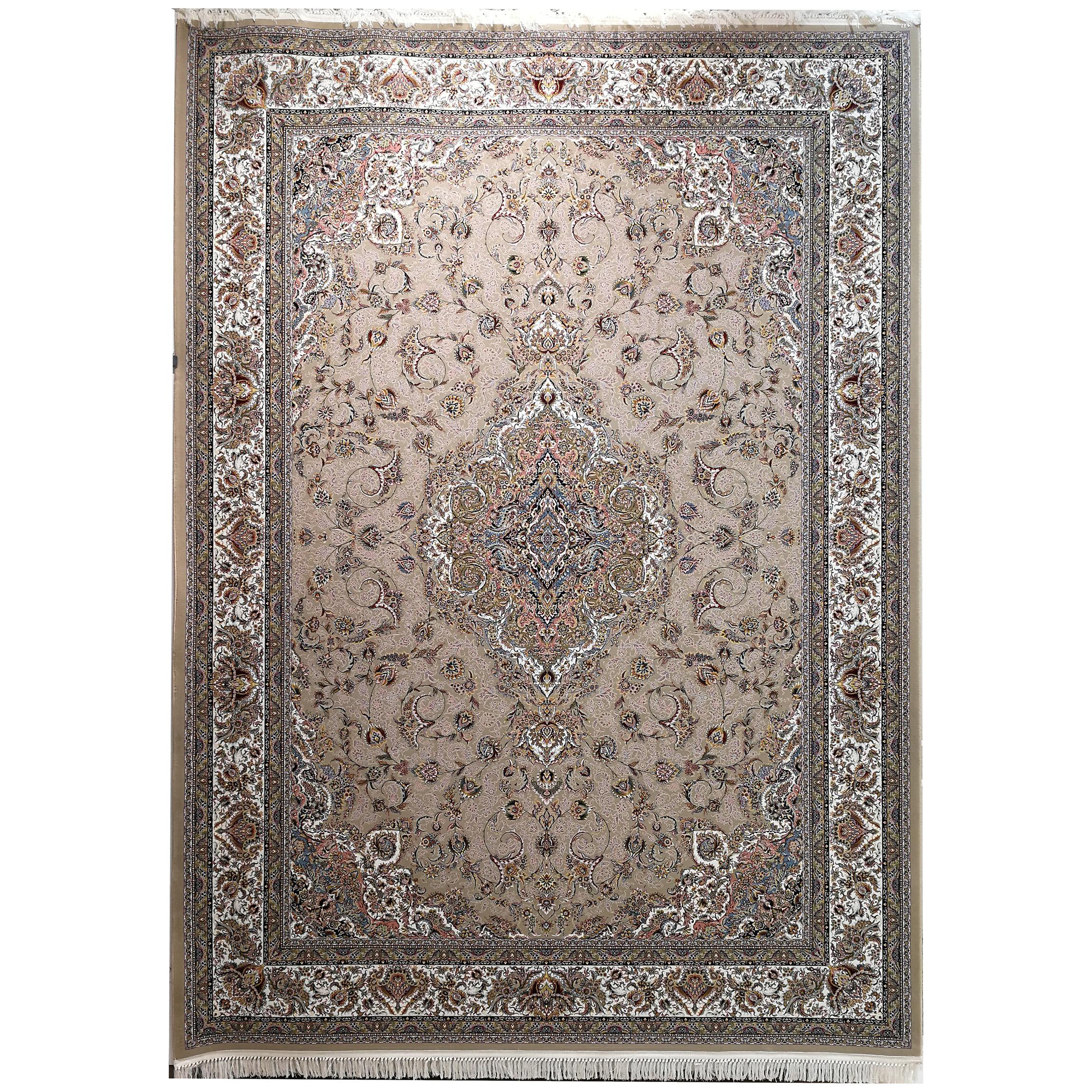 فرش ماشینی زمرد مشهد طرح 45001 نسکافه ای 1500شانه