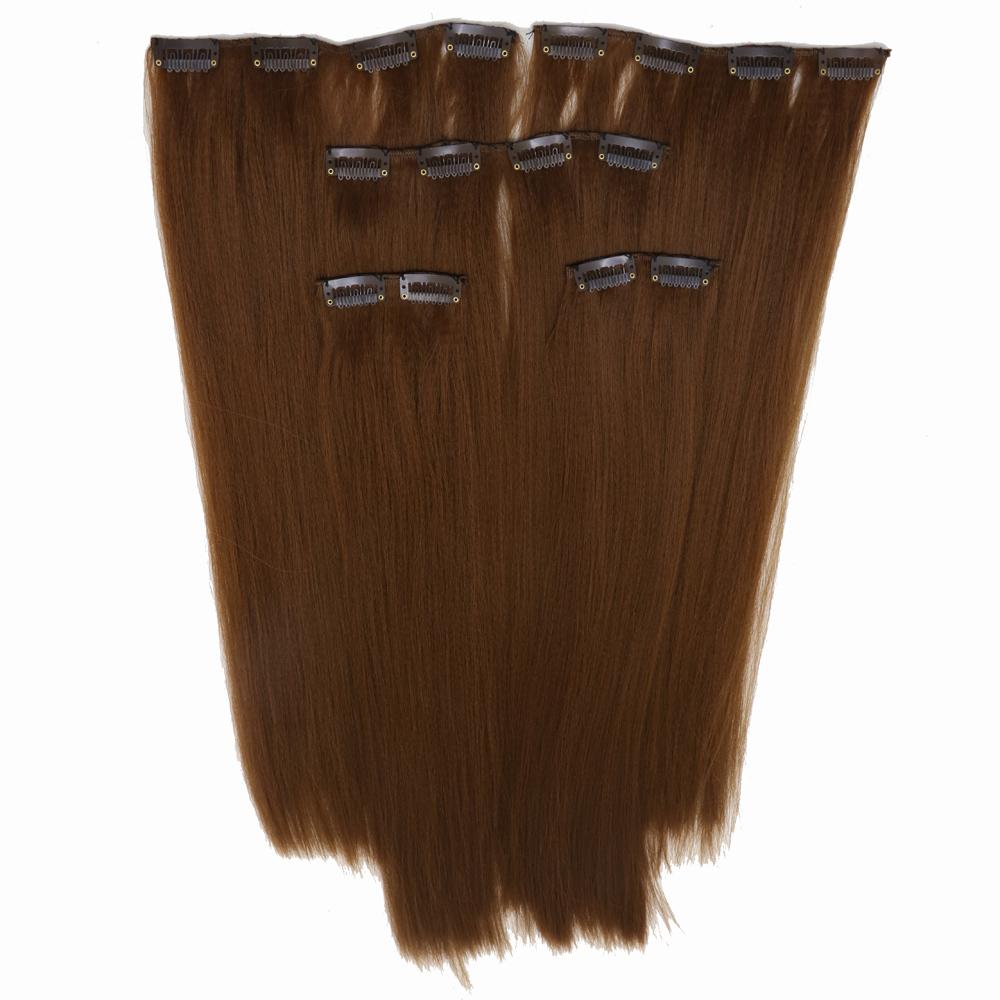 اکستنشن کلیپسی مو 16گیره رنگ قهوه ای مسی  کد 3041c-12b