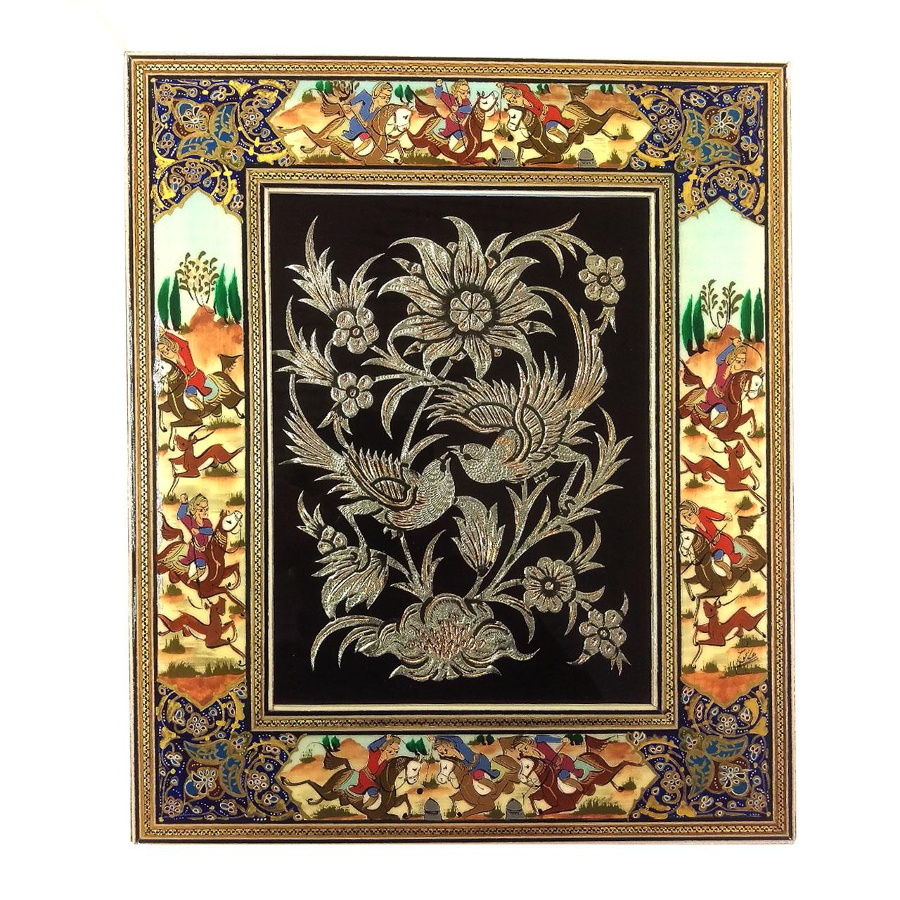 قاب خاتم لوح هنر طرح گل و پرنده قلمزنی کد 1097
