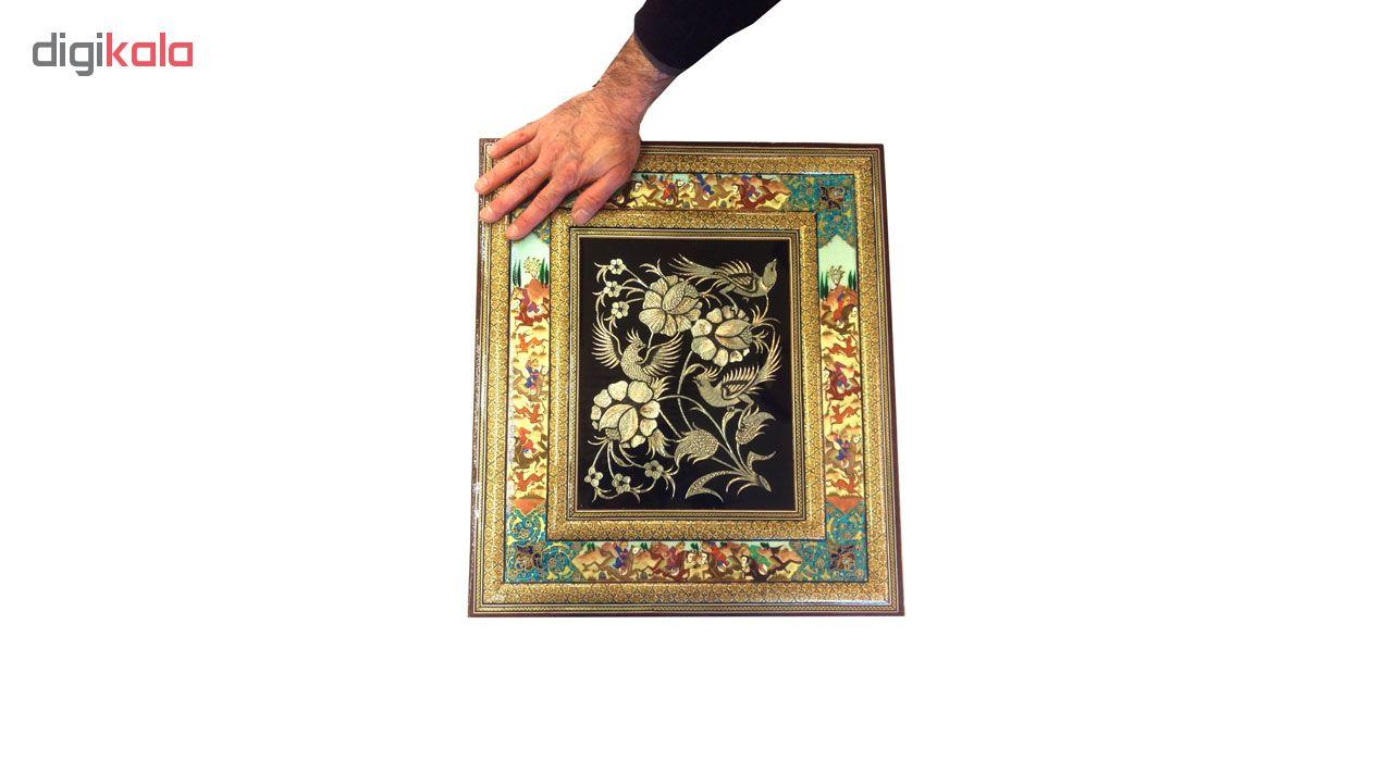 خرید                      قاب خاتم لوح هنر طرح گل و پرنده قلمزنی کد 1099