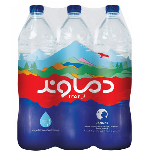 آب آشامیدنی دماوند حجم 1500 میلی لیتر بسته 6 عددی