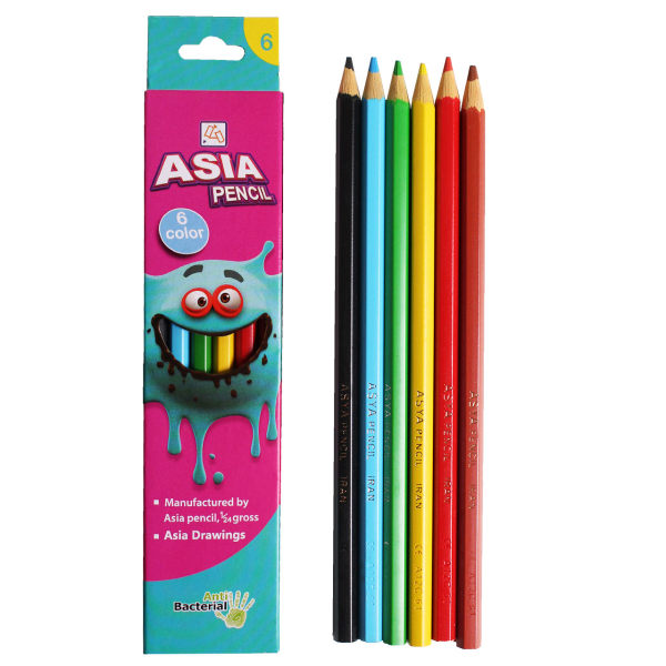 مداد رنگی 6 رنگ آسیا مدل ISMR-00014