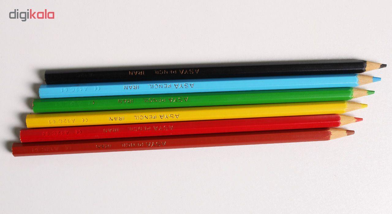 مداد رنگی 6 رنگ آسیا مدل ISMR-00014 main 1 3
