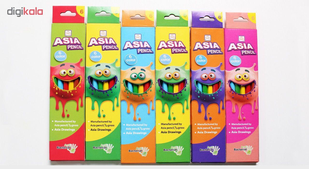 مداد رنگی 6 رنگ آسیا مدل ISMR-00014 main 1 2