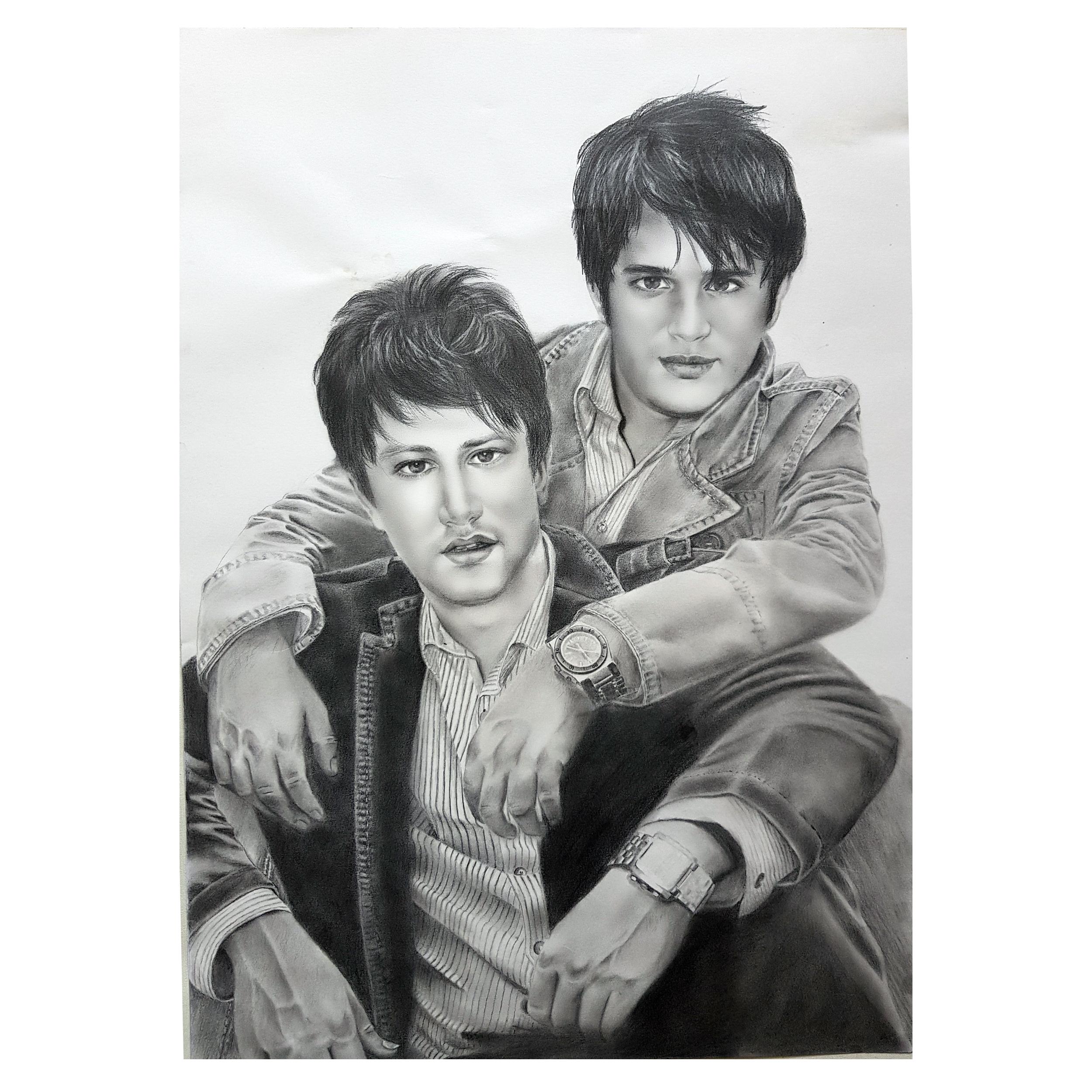 تابلو نقاشی سیاه قلم طرح چهره شاهرخ استخری و سیاوش خیرابی