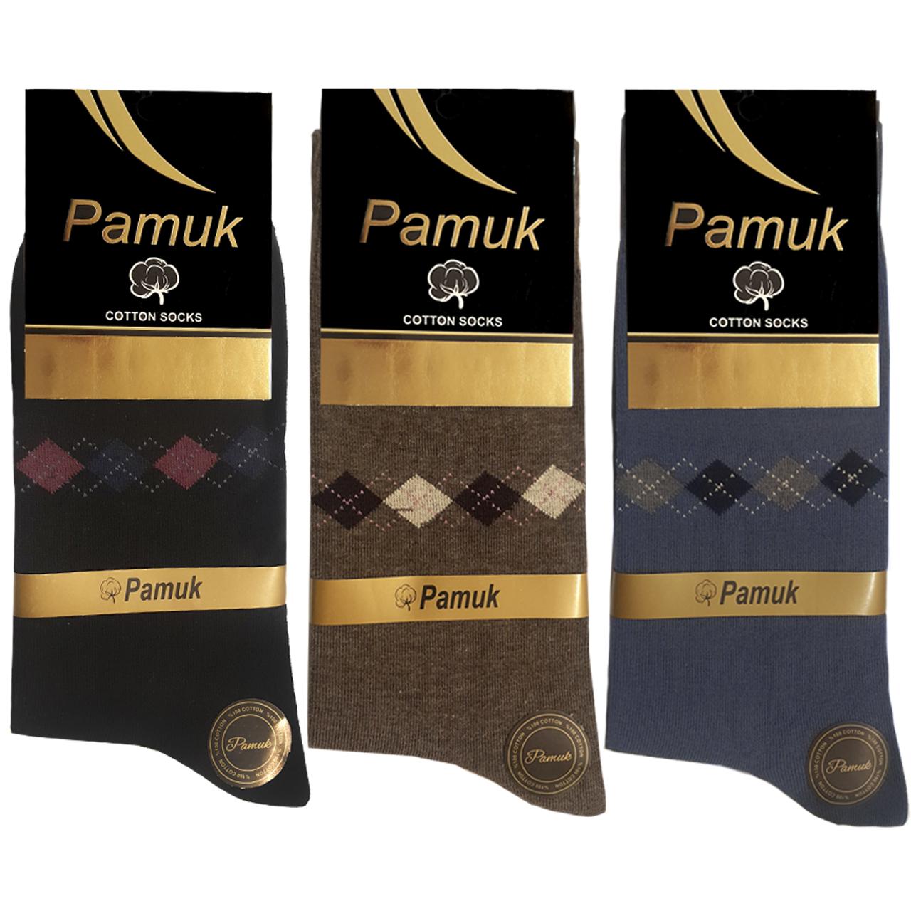 جوراب مردانه پاموک مدل 103.3 بسته ۳ عددی