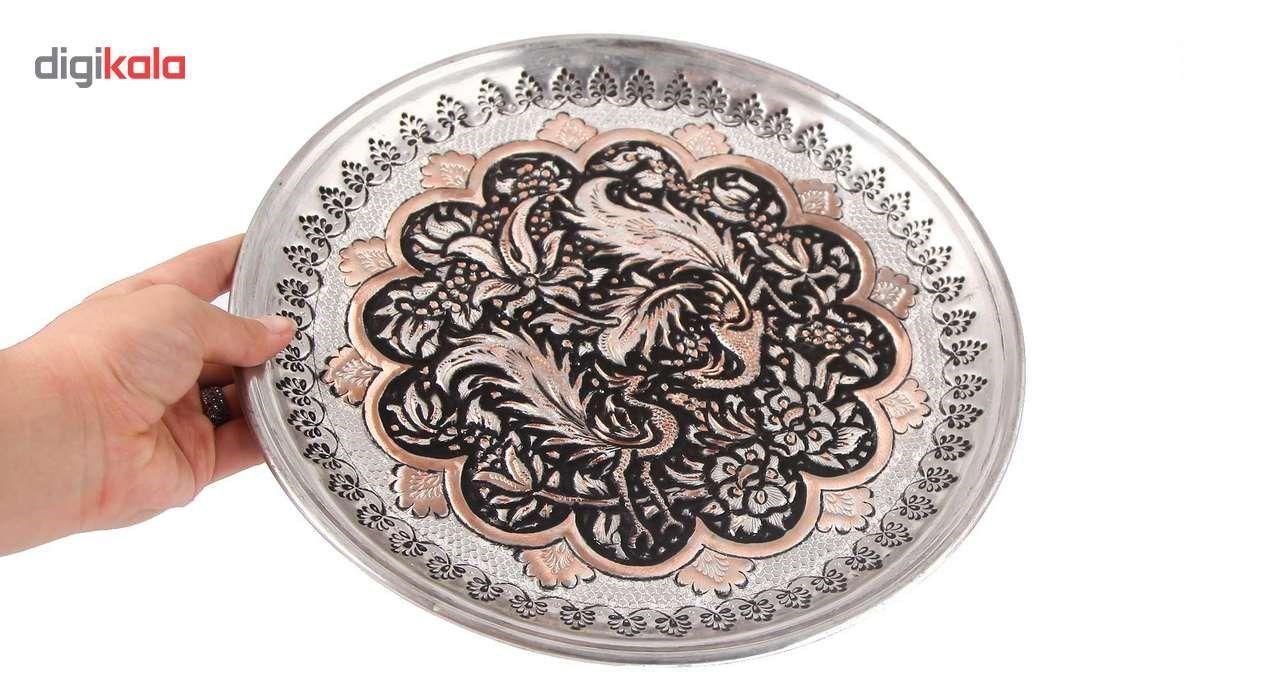 بشقاب قلمزنی طرح گل و مرغ گالری مثالین کد 149015