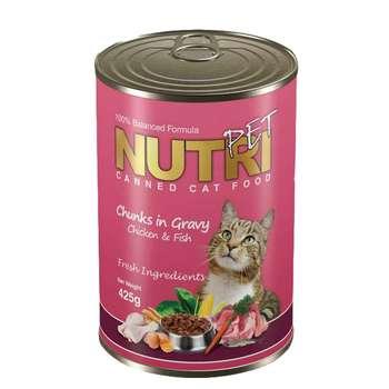 کنسرو غذای گربه نوتری پت مدل chicken fish  وزن 425 گرم