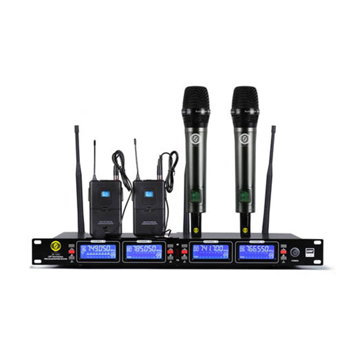 خرید                     میکروفن بیسیم زیکو مدل UR-1000HC دو کانال دستی و دو کانال یقه ای