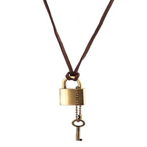گردنبند طرح قفل و کلید مدل 3502
