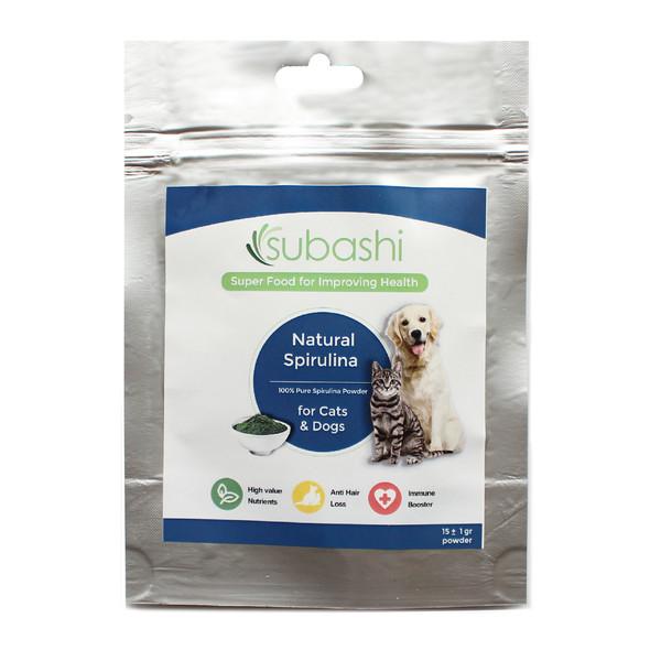 مکمل غذایی سگ و گربه سوباشی مدل Natural Spirulina وزن 15 گرم