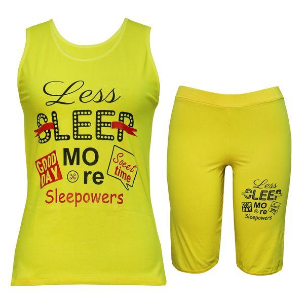 ست تاپ و شلوار زنانه مدل Sleep کد 1 رنگ زرد