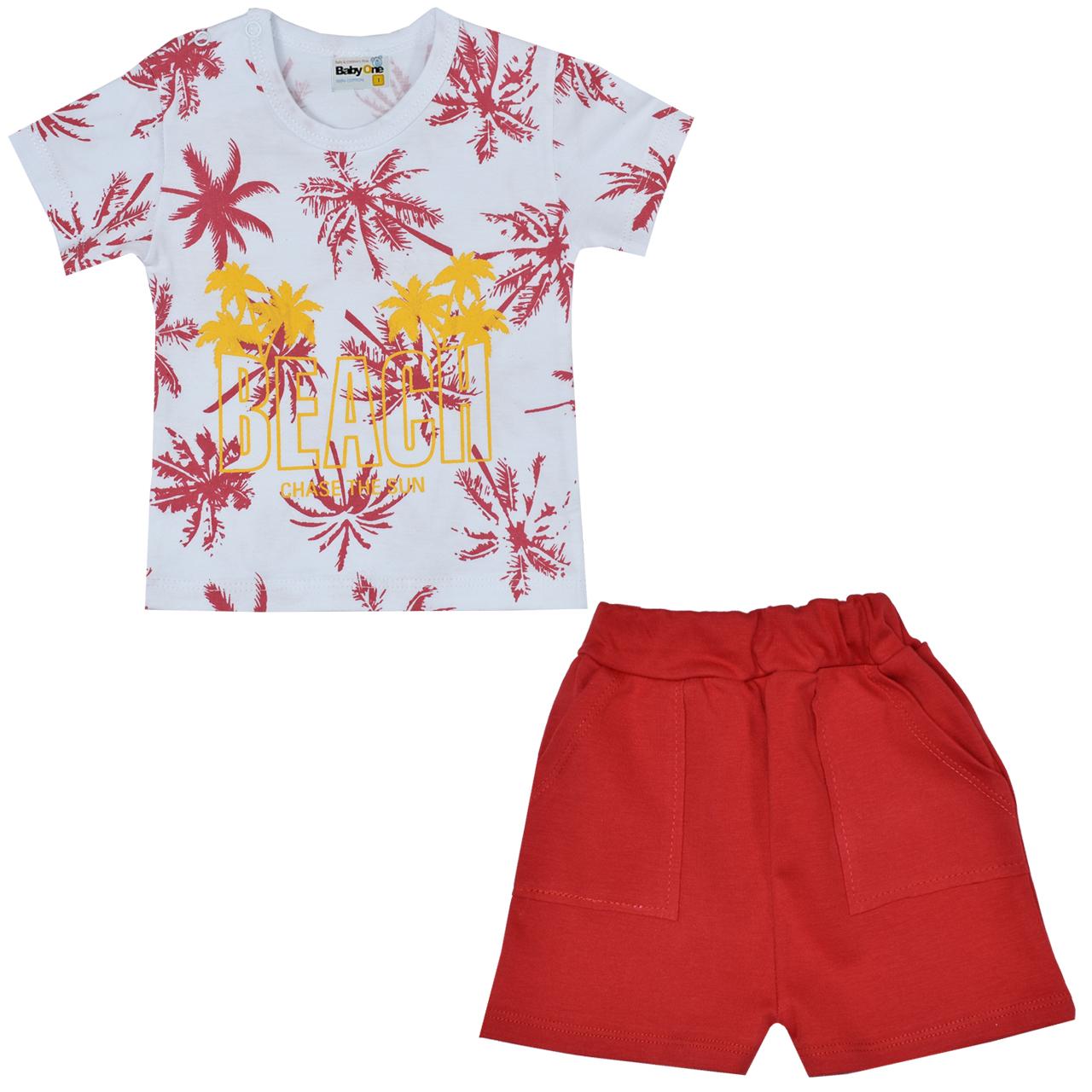 ست تی شرت و شلوارک نوزادی بی بی وان مدل هاوایی