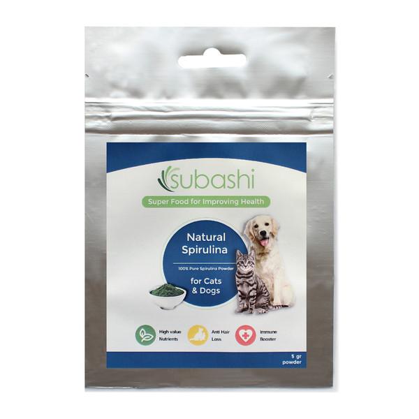 مکمل غذایی سگ و گربه سوباشی مدل Natural Spirulina وزن 5 گرم