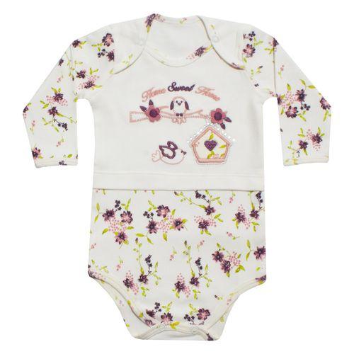 زیر دکمه دار آستین بلند نوزادی دخترانه طرح فاخته کد 12