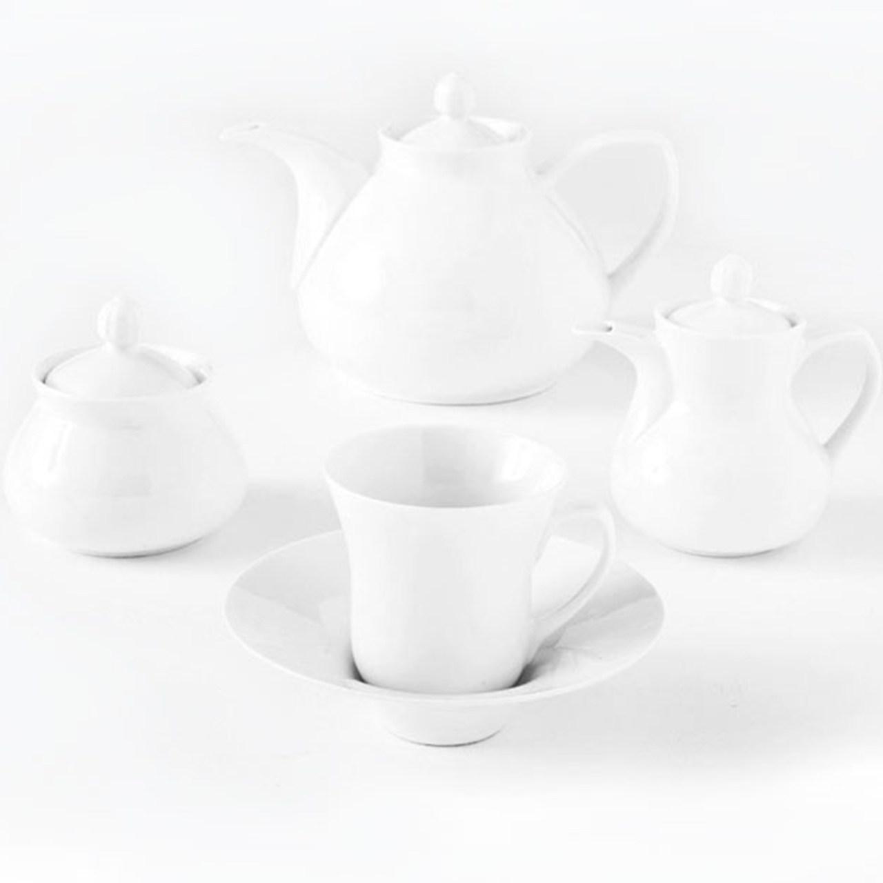 سرویس چینی 18 پارچه چای خوری چینی زرین ایران سری شهرزاد مدل سفید درجه عالی