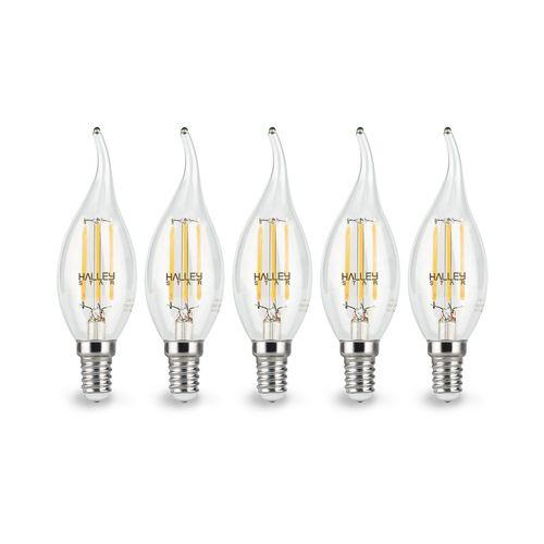 لامپ ال ای دی فیلامنتی 5 وات هالی استار مدل CA35T اشکی پایه E14 بسته 5 عددی