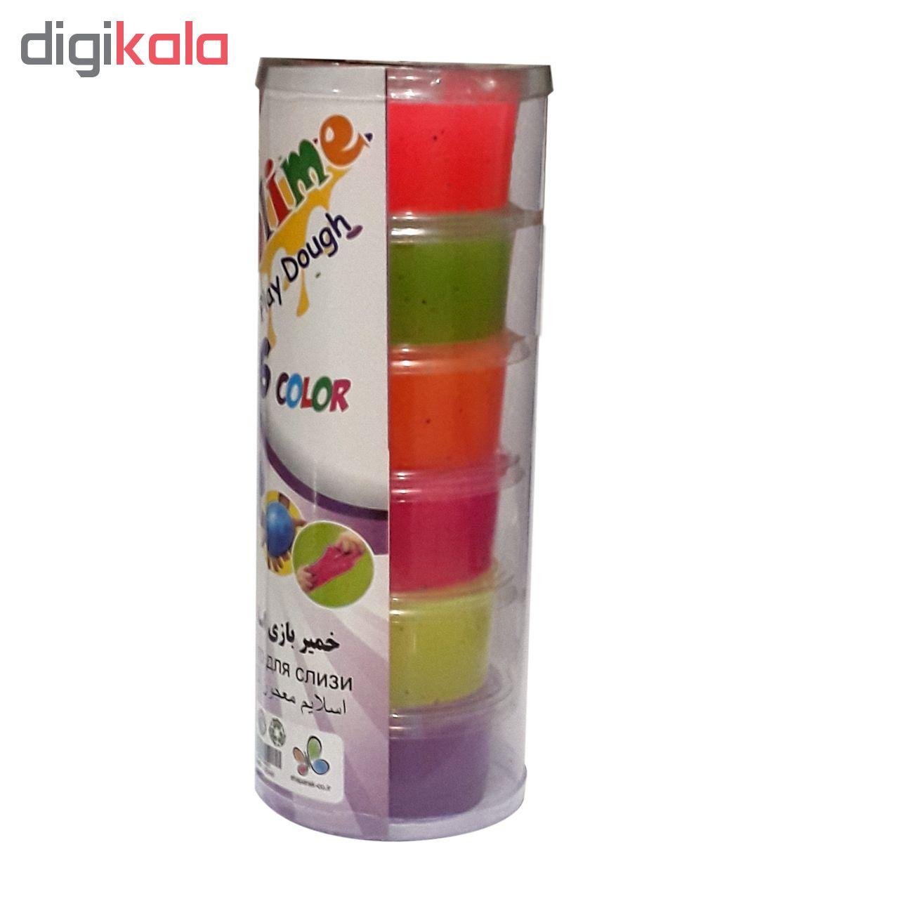 خمیر بازی اسلایم 6 رنگ شاپرک مدل بلک لایت - بسته 6 عددی