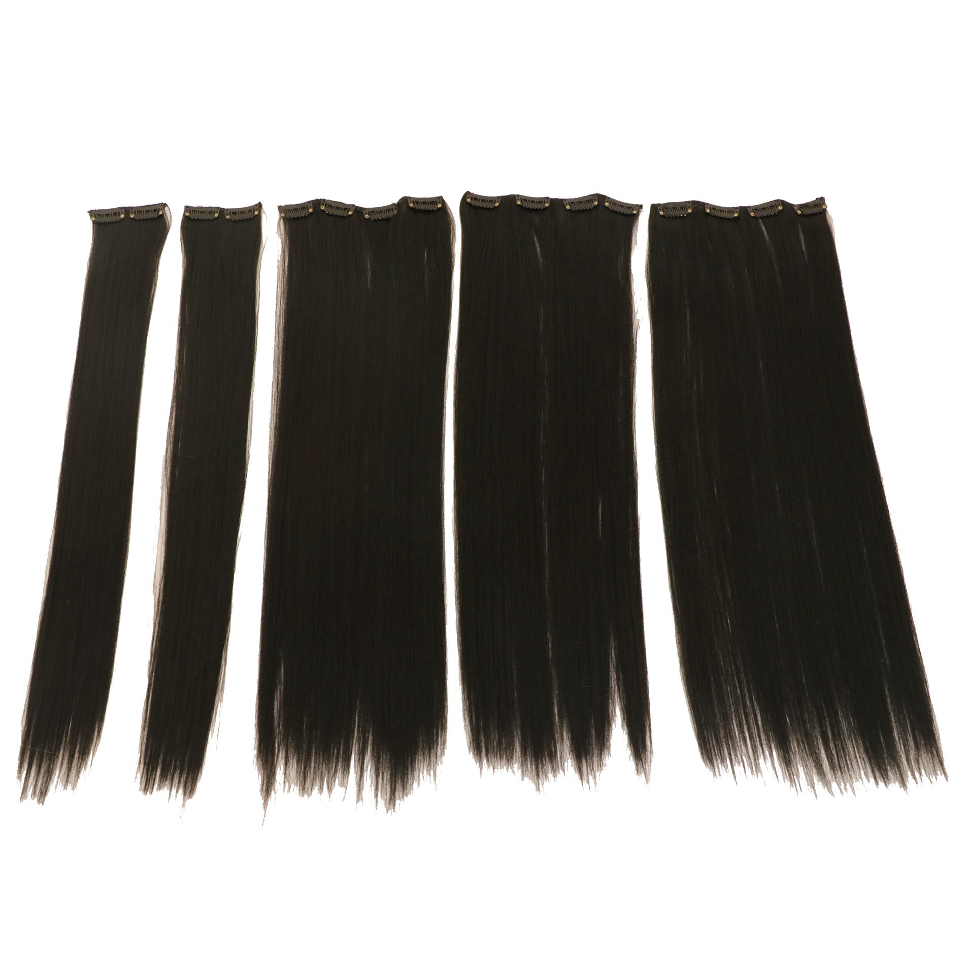 اکستنشن مو صاف اتو کشیده رنگ مشکی تیره کد stw20c-1