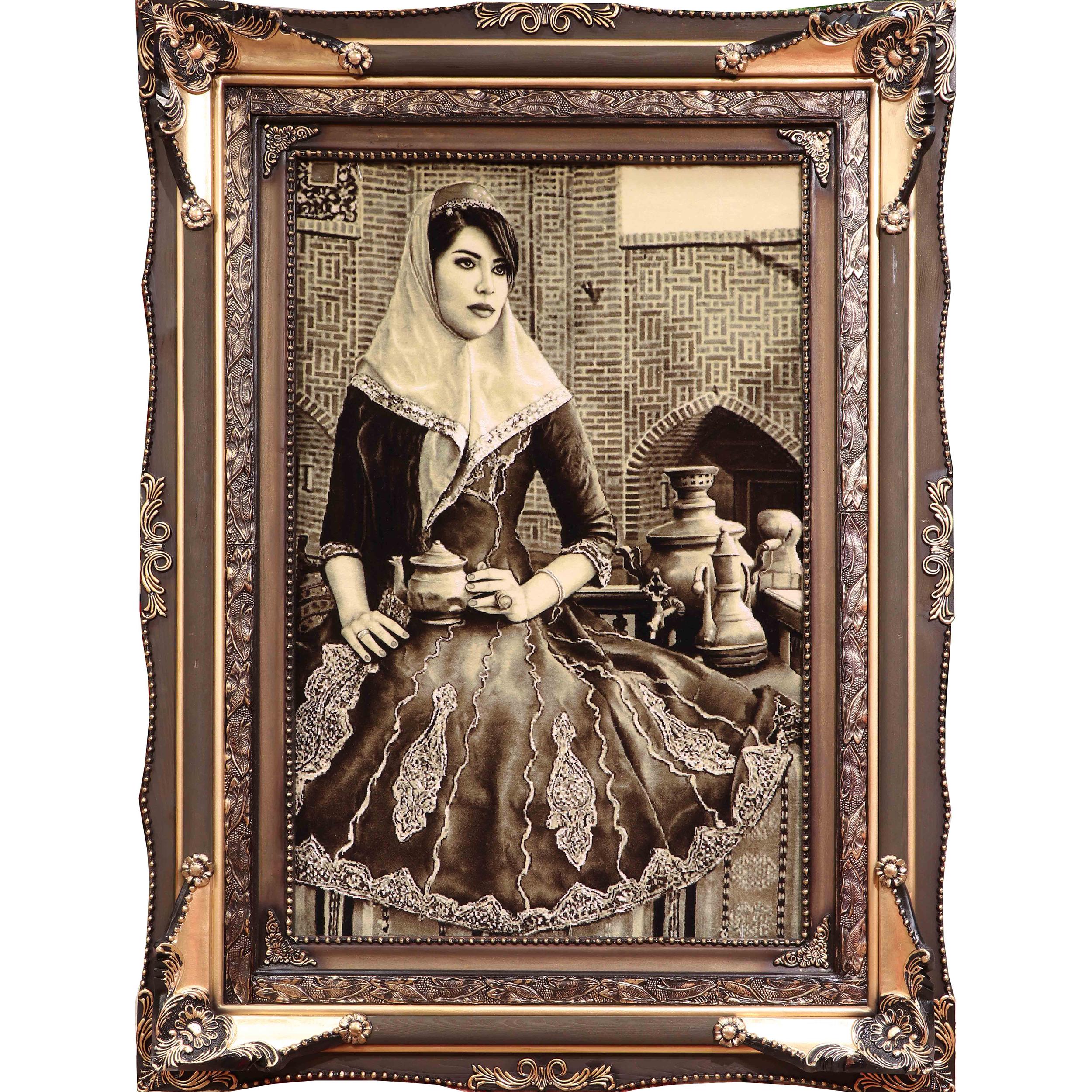تابلوفرش دستبافت آنافرش طرح دختر قاجار کد 11384
