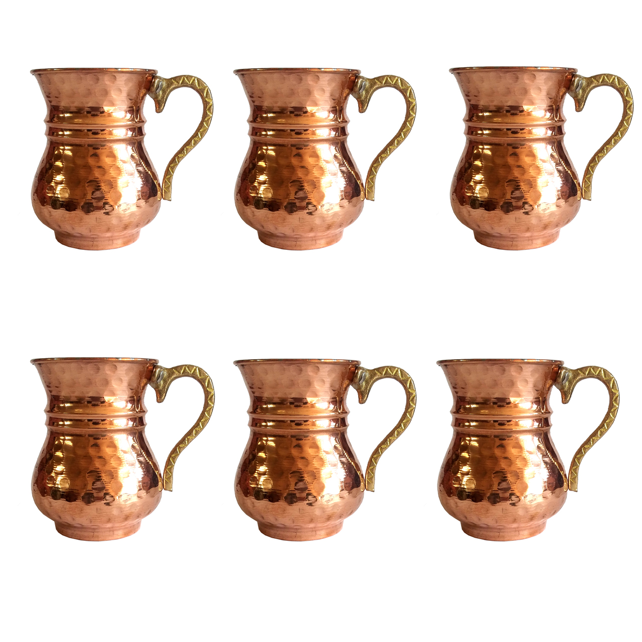 Copper glass slim designed, set of 6, code 2