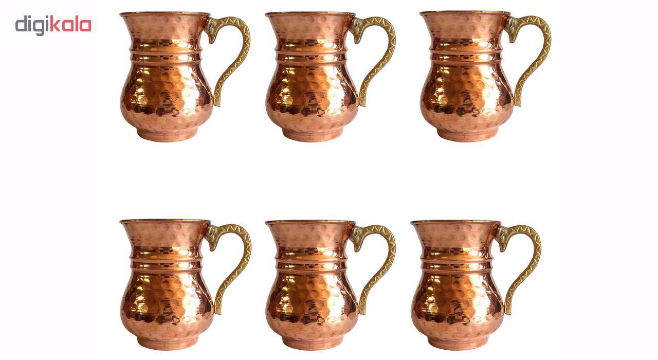 Copper glass slim designed, set of 6, code 2