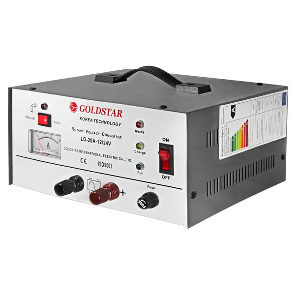 دستگاه اتوماتیک شارژر باتری خودرو جهت شارژ اتومبیل مناسب باطری ماشین با جریان 20 آمپر و خروجی 12 و 24 ولت به صورت اتومات گلداستار مدل LG-20A-12/24V