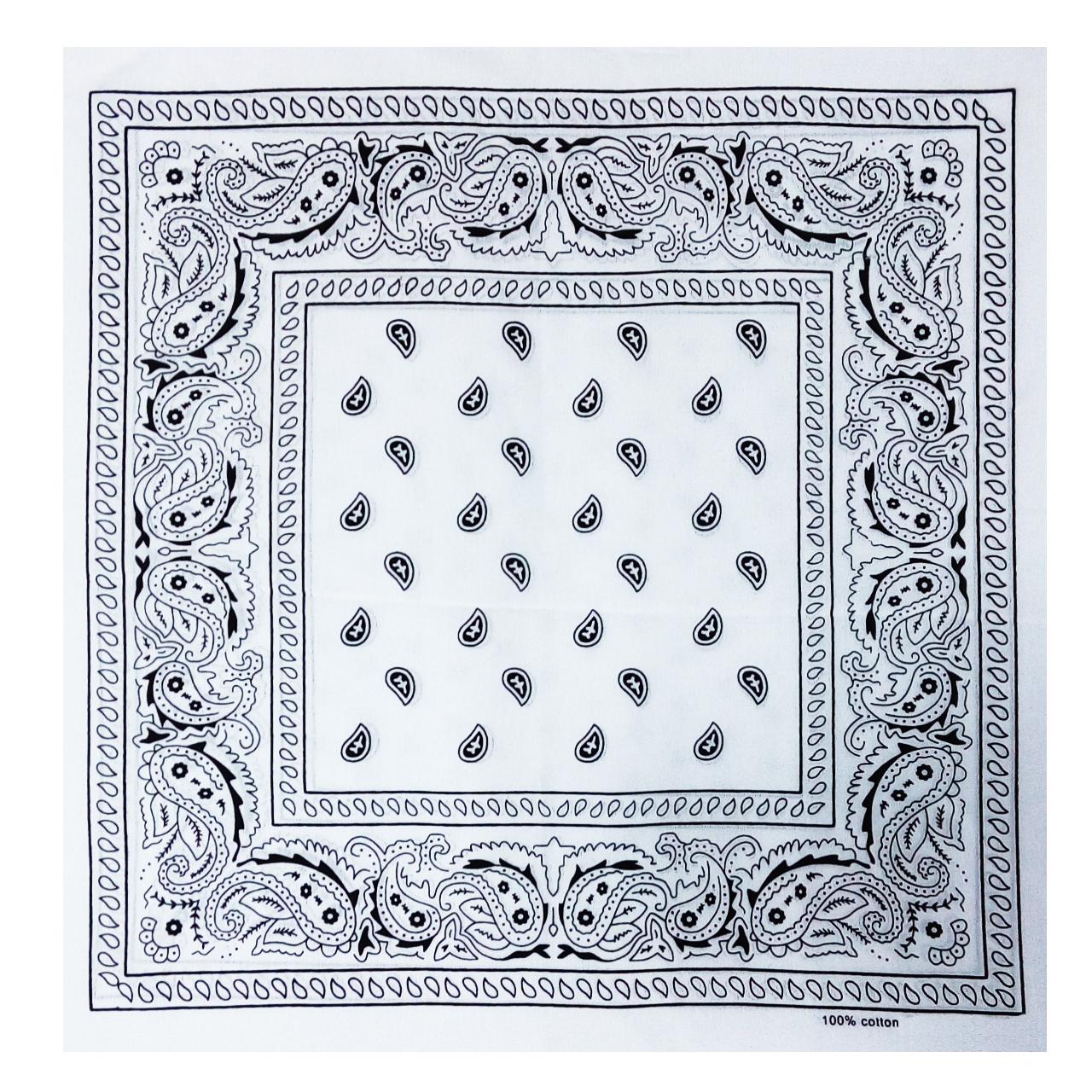 دستمال سر و گردن باندانا طرح بته جقه سفید