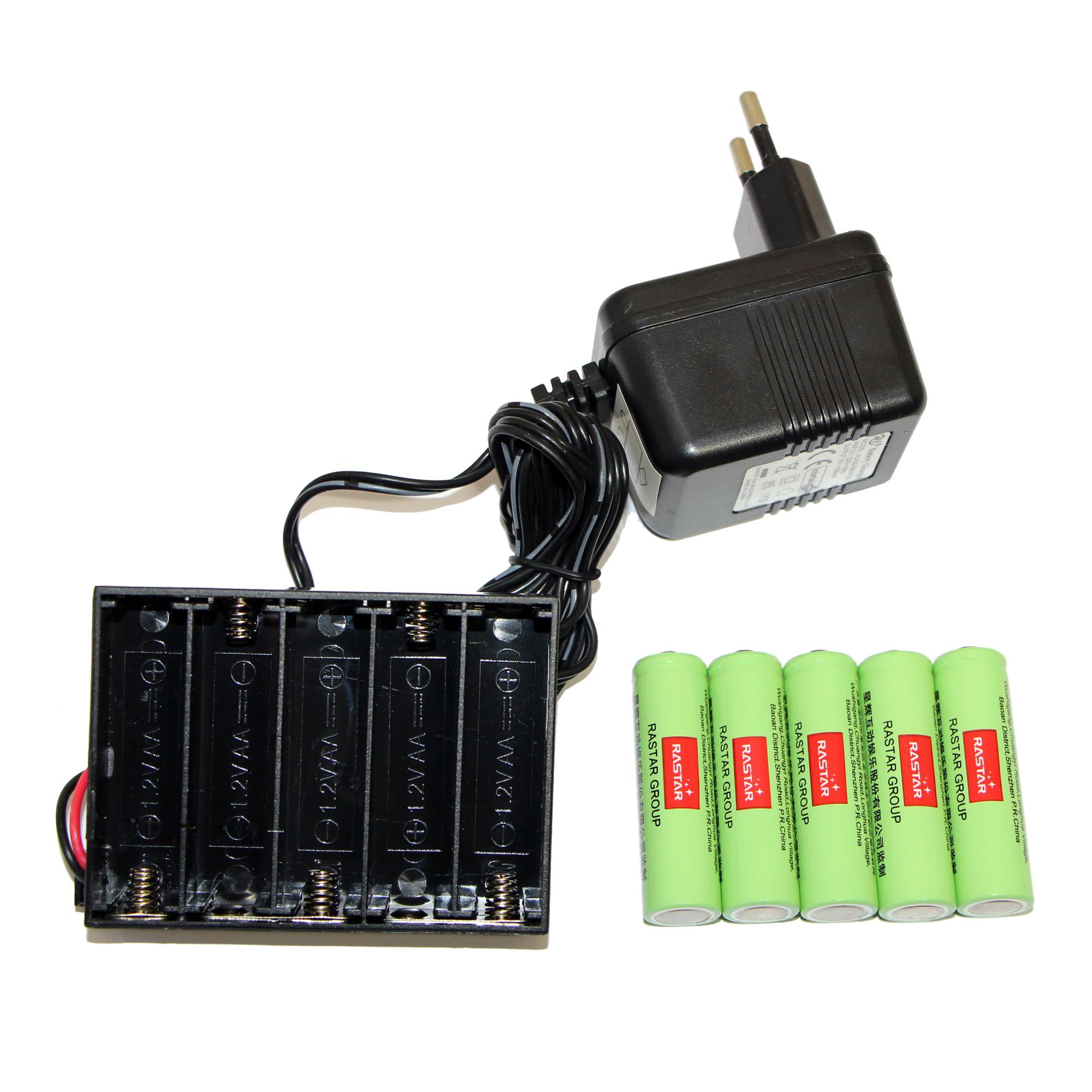 باتری قلمی رستار مدل RS-400mAh بسته 5 عددی به همراه شارژر باتری