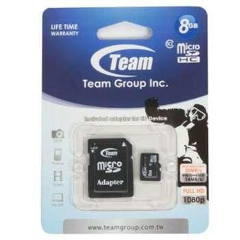 کارت حافظه microSDHC تیم گروپ کلاس 10 سرعت 14MBps به همراه آداپتور SD ظرفیت 8 گیگابایت