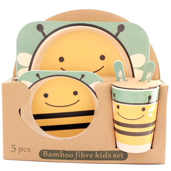 ظرف غذای 5 تکه کودک بامبو فایبر مدل زنبور 2