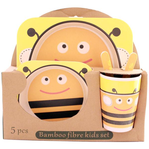 ظرف غذای 5 تکه کودک بامبو فایبر مدل زنبور 1