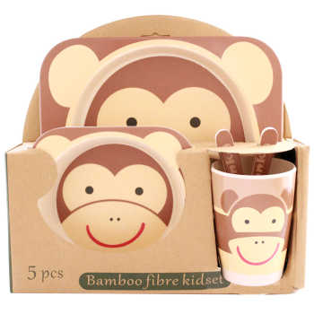 ظرف غذای 5 تکه کودک بامبو فایبر مدل میمون 1