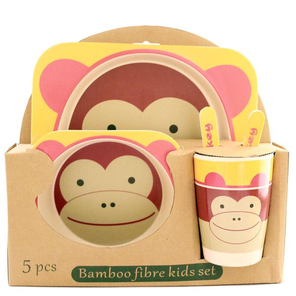 ظرف غذای 5 تکه کودک بامبو فایبر مدل میمون 2
