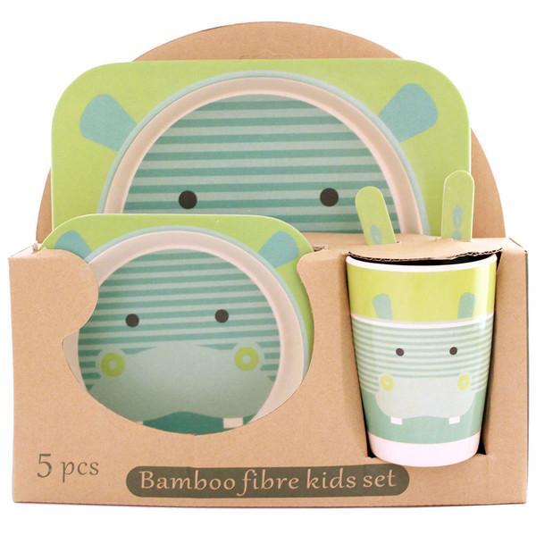 ظرف غذای 5 تکه کودک بامبو فایبر مدل اسب آبی 1