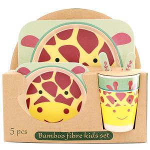 ظرف غذای 5 تکه کودک بامبو فایبر مدل زرافه 1