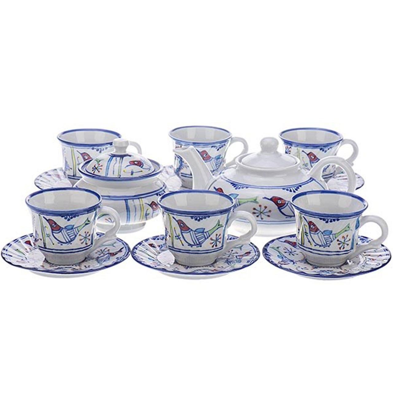 چای خوری چینی کارگاه میبد مروارید طرح خورشید خانم سرویس 16 پارچه              ⭐️⭐️⭐️