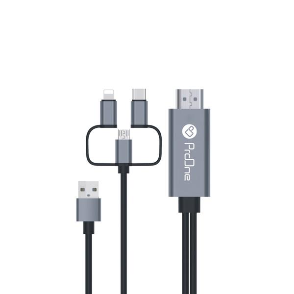 کابل تبدیل HDMI به USB-C / microUSB / لایتنینگ پرووان مدل PCH70 طول 1.8متر