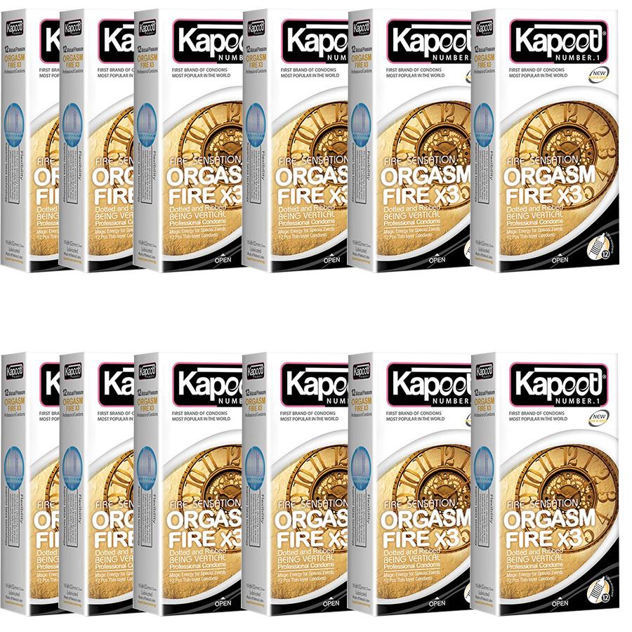 کاندوم کاپوت مدل Orgasm Fire X3 بسته 12 عددی