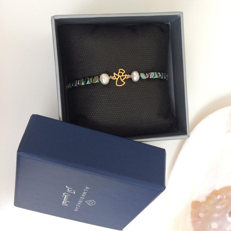 دستبند طلا 18 عیار دخترانه الماسین آذر طرح فرشته کد F01